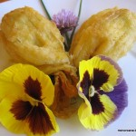 Flores de calabacín rellenas en tempura