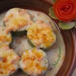 Alcachofas rellenas de bechamel y salmón