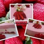 Tarta de mousse de fresas con corazón de nata