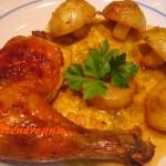 Pollo con naranjada y sopa de cebolla