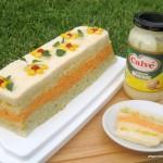 Pastel de pan y atún de colores