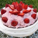 Tarta pavlova con fresas