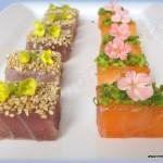 Taquitos de salmón y atún marinados