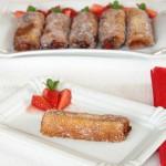 Torrijas rellenas con fresas y crema de chocolate